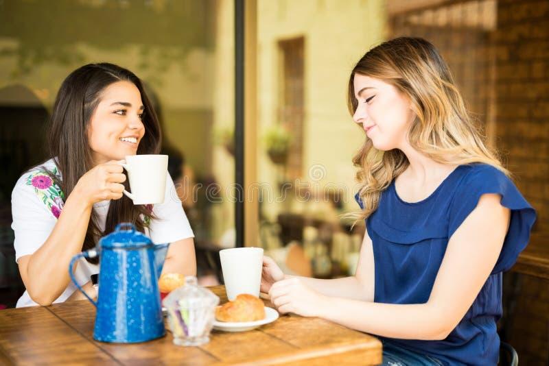 Женские друзья вися вне на кофейне стоковая фотография rf