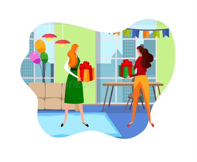 Женские друзья давая подарки друг к другу в комнате иллюстрация вектора