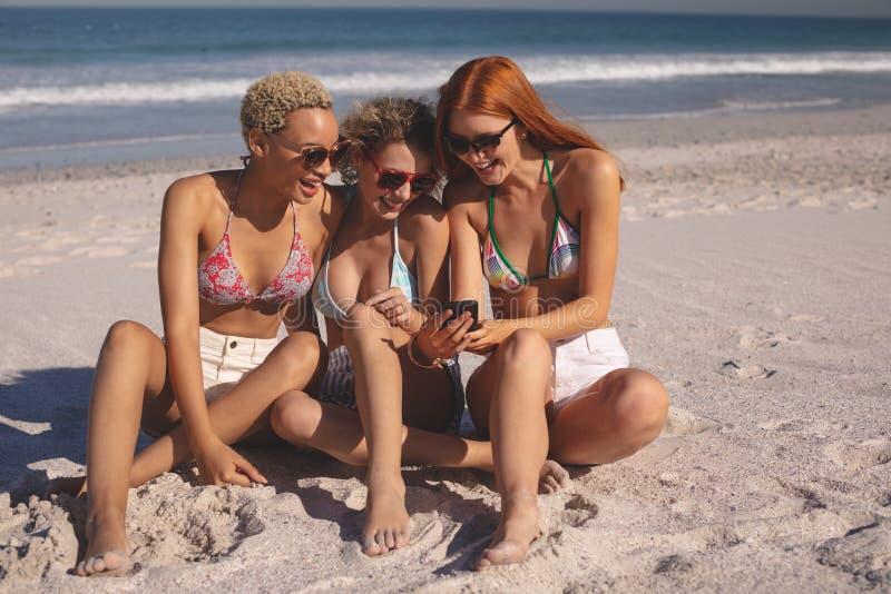 Женские друзья смотря фото на мобильном телефоне на пляже стоковые фотографии rf