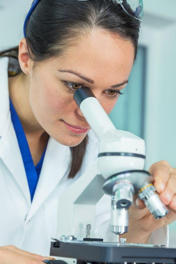 Женские исследователь и микроскоп женщины ученого в лаборатории стоковое фото rf