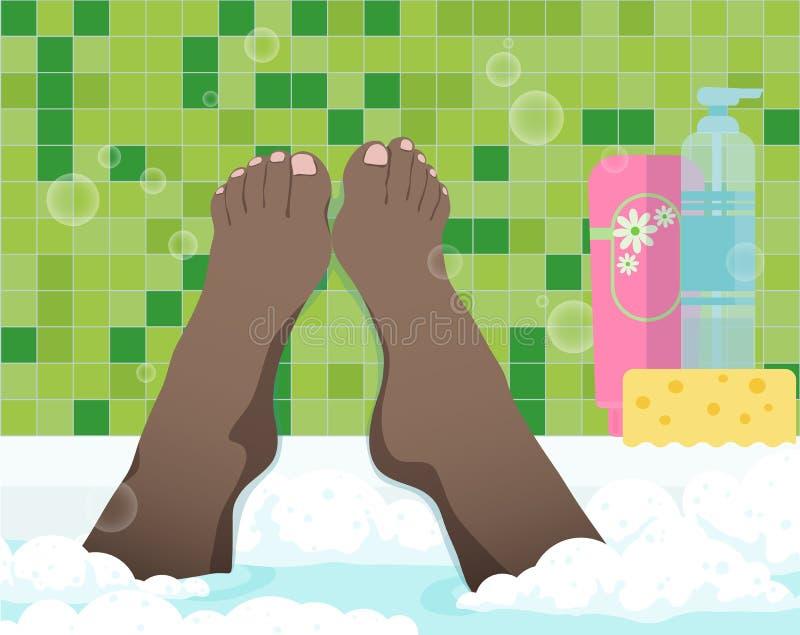 Женские ноги в ванной комнате иллюстрация штока