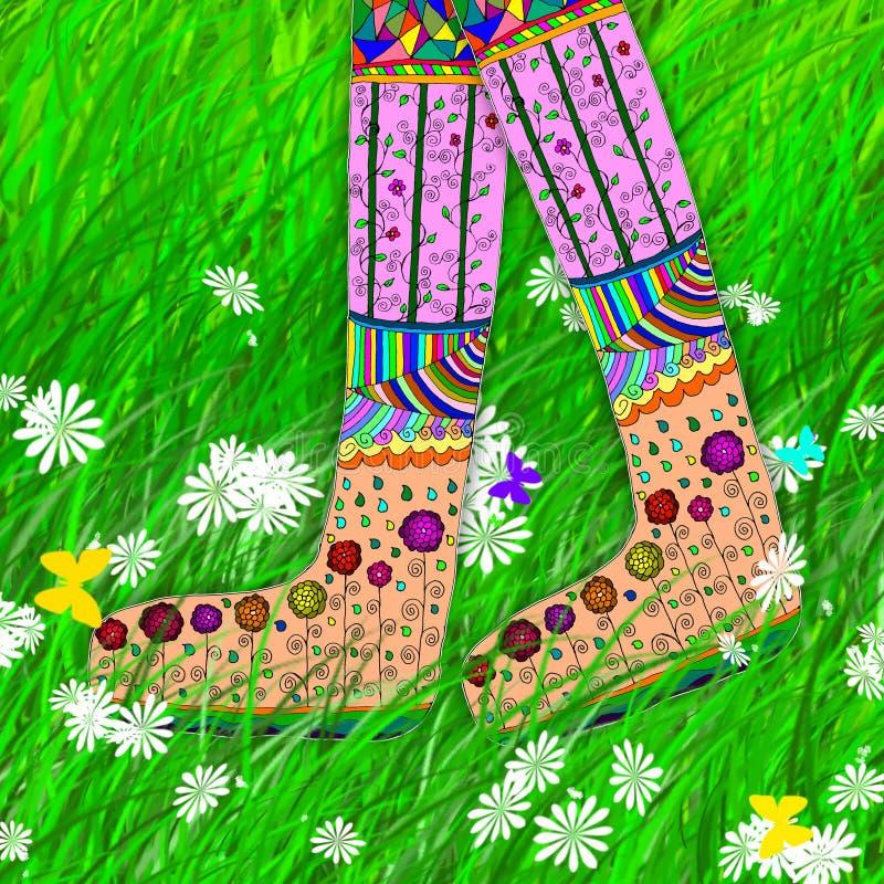 Женские ноги идя на траву иллюстрация штока