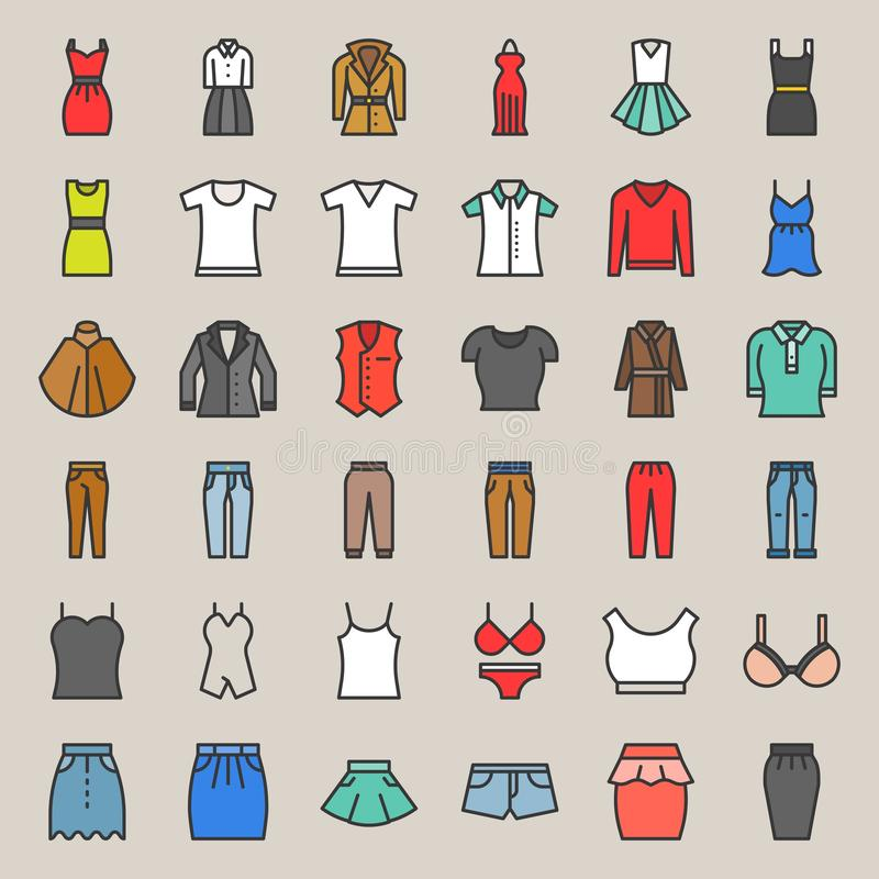 Женские одежды, сумка, ботинки и аксессуары заполнили значок s плана иллюстрация штока
