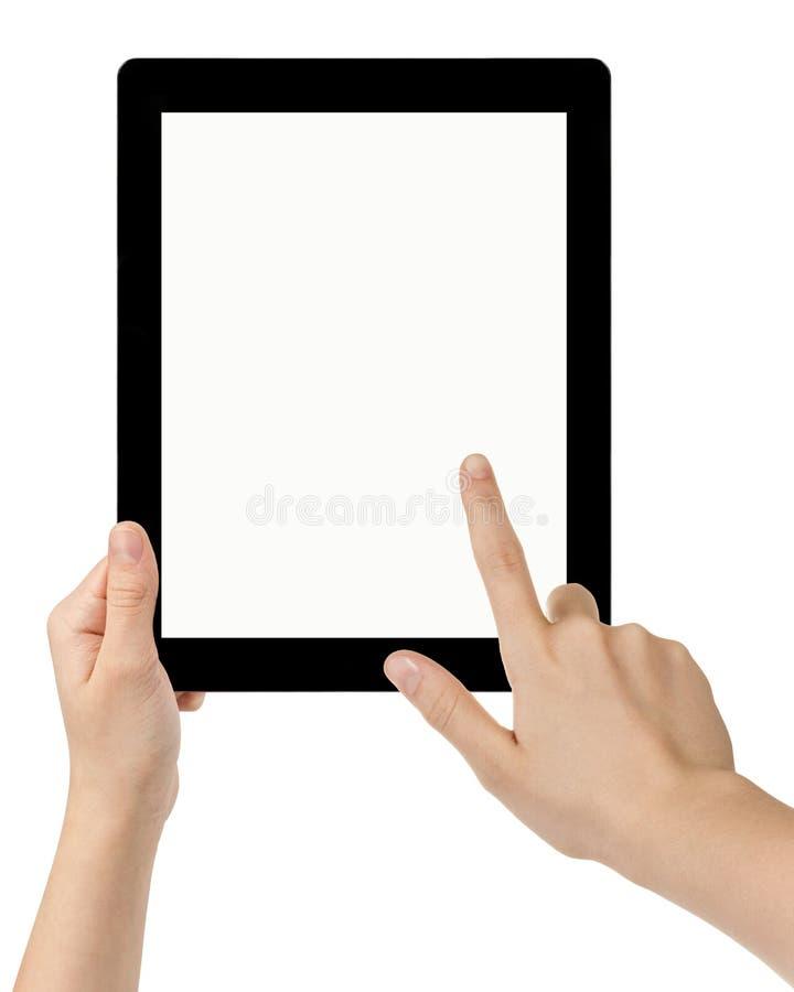 Женские предназначенные для подростков руки используя ПК таблетки с белым экраном стоковая фотография