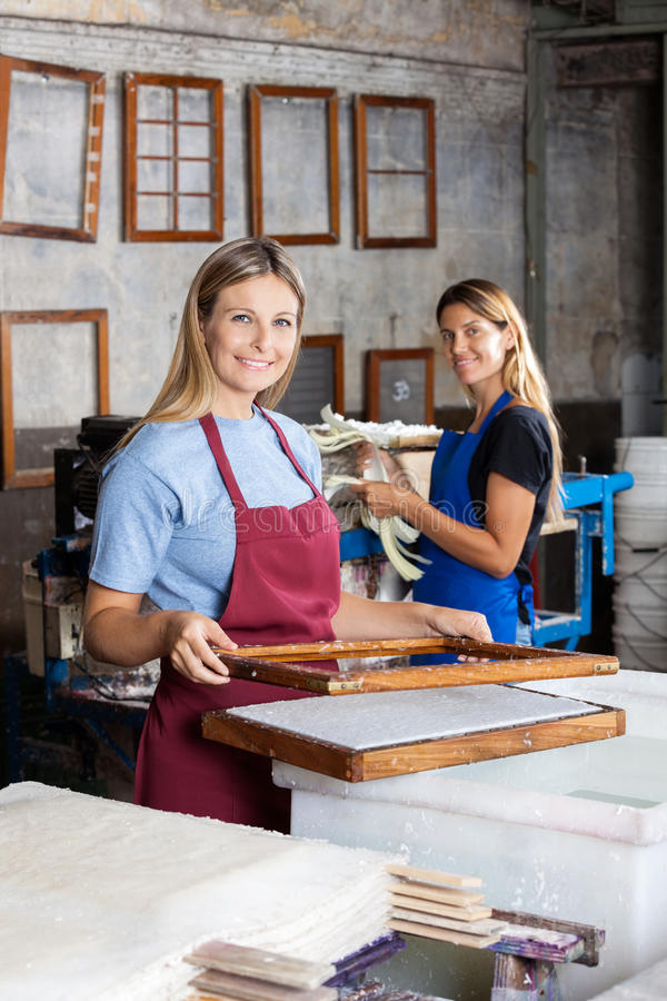 Женские работники делая бумаги совместно в фабрике стоковые фото