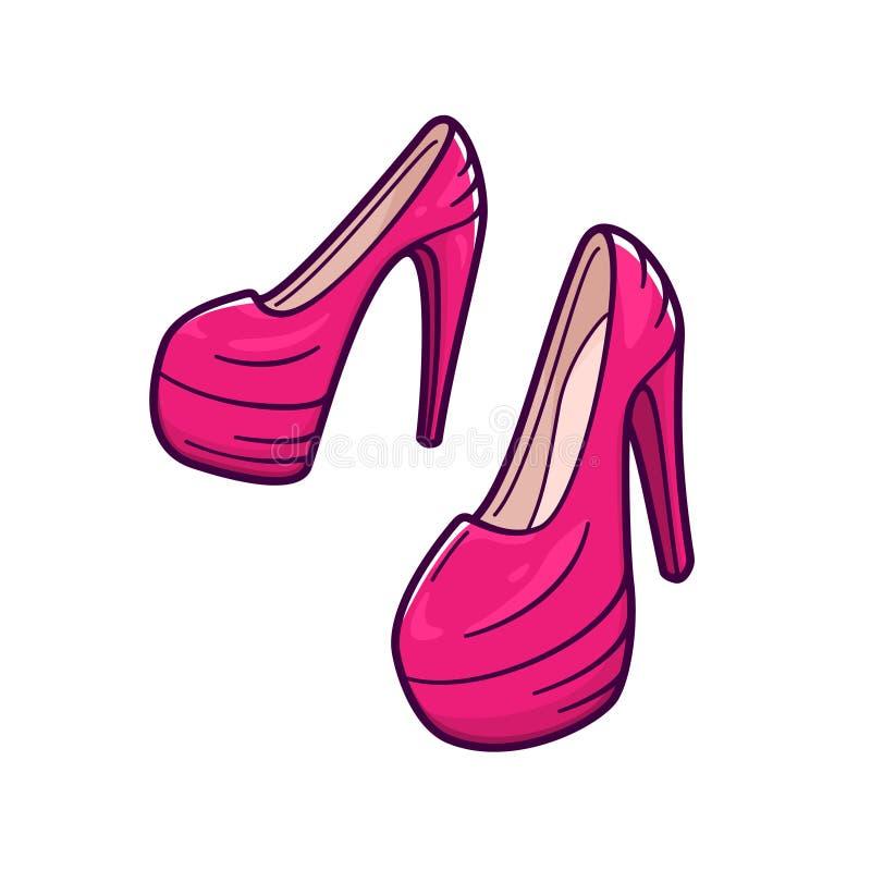 Женские розовые ботинки с высокими пятками зацепляет икону иллюстрация вектора