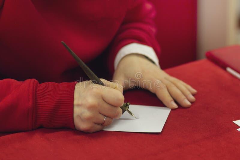 Женские руки держат ручку стоковые фото