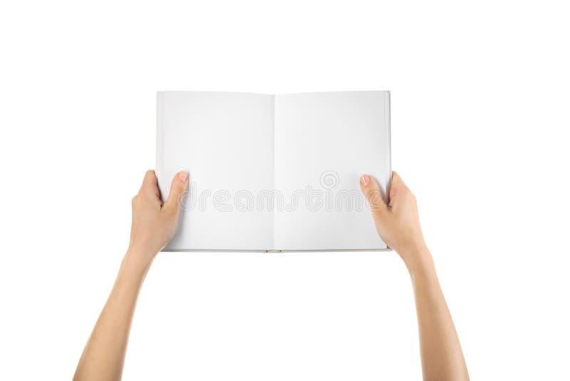 Женские руки держа книгу с пустыми страницами на белой предпосылке стоковая фотография rf