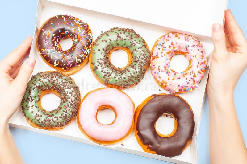 Женские руки держа коробку с красочными donuts на пастельной голубой предпосылке стоковое фото