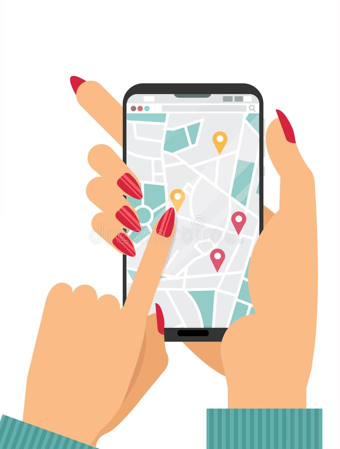 Женские руки держа смартфон с картой улицы города на экране Онлайн carshering концепция Палец отжимает кнопку geolocation GPS иллюстрация вектора
