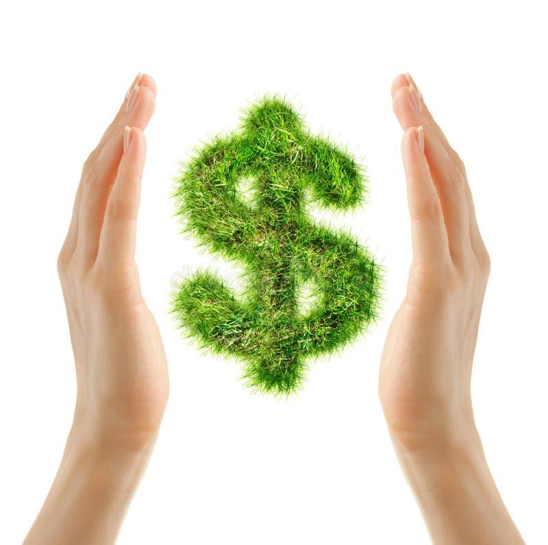 Женские руки держа знак доллара стоковое изображение rf