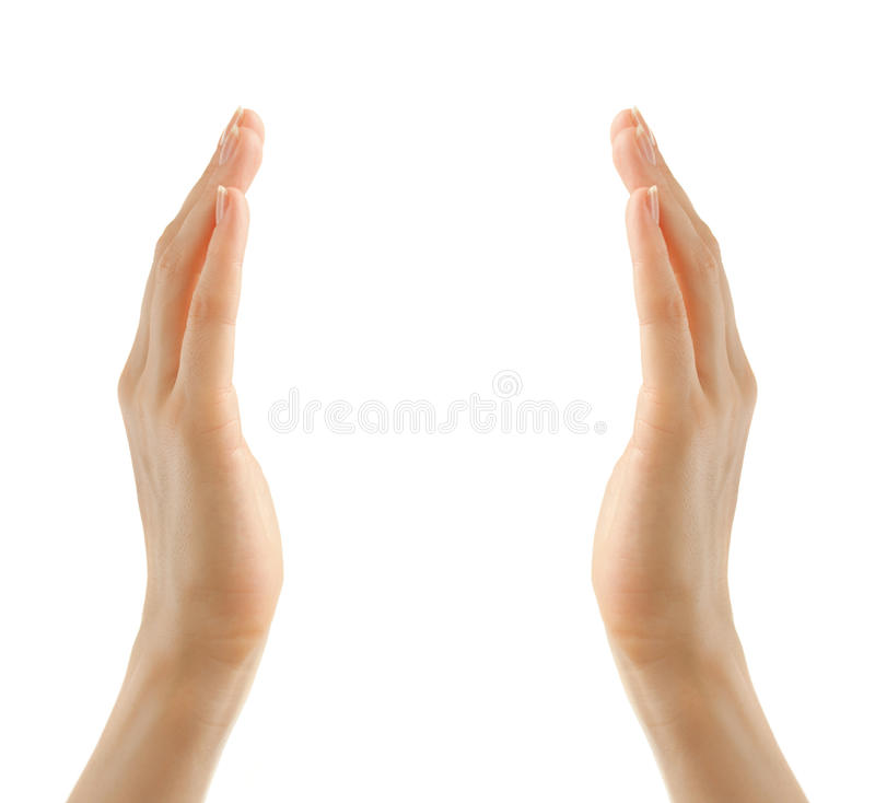Женские руки на белой предпосылке стоковые фотографии rf