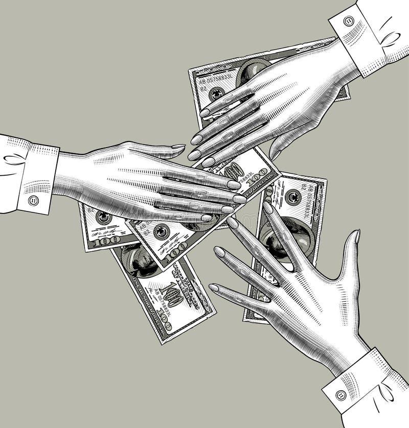 Женские руки разделяют деньги в 100 долларах бумажных денег иллюстрация штока