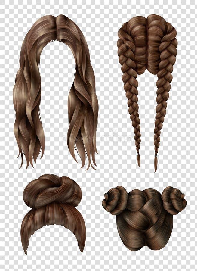 Женские установленные стили причёсок иллюстрация вектора