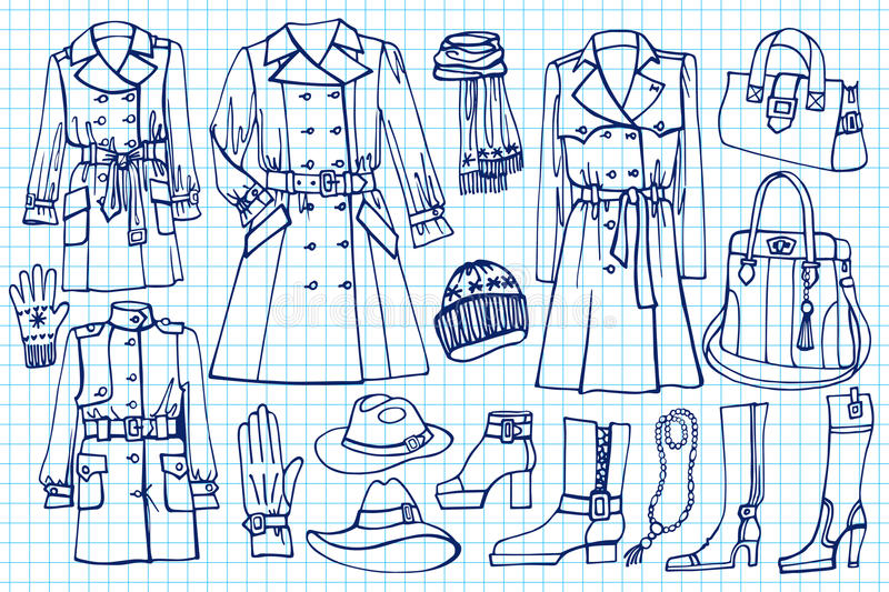 Женские установленные одежды Носка моды на схематичном иллюстрация вектора
