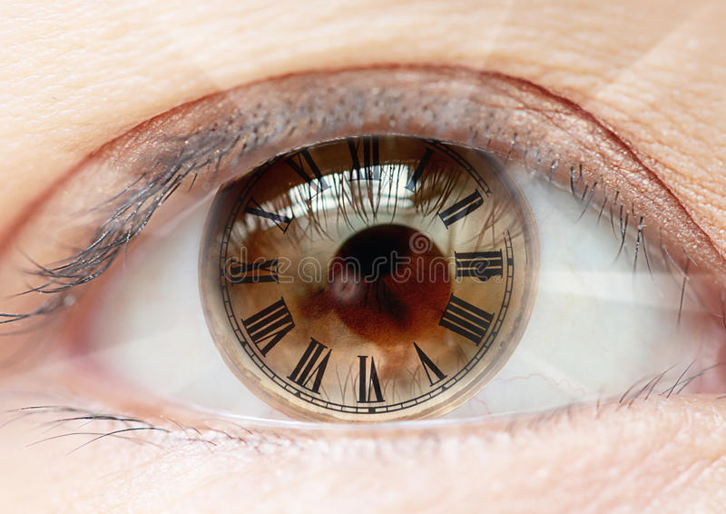 Женские часы римских цифров глаза био стоковая фотография rf