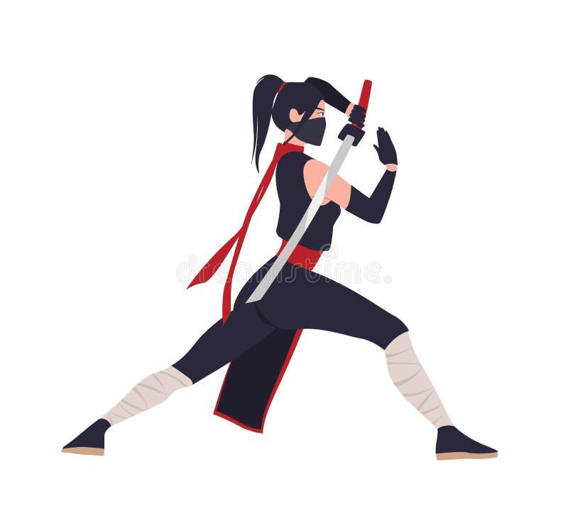 Женские японские воин, ninja или самурай Храброе положение женщины в воюя позиции и удержание шпаги katana изолированный дальше иллюстрация штока