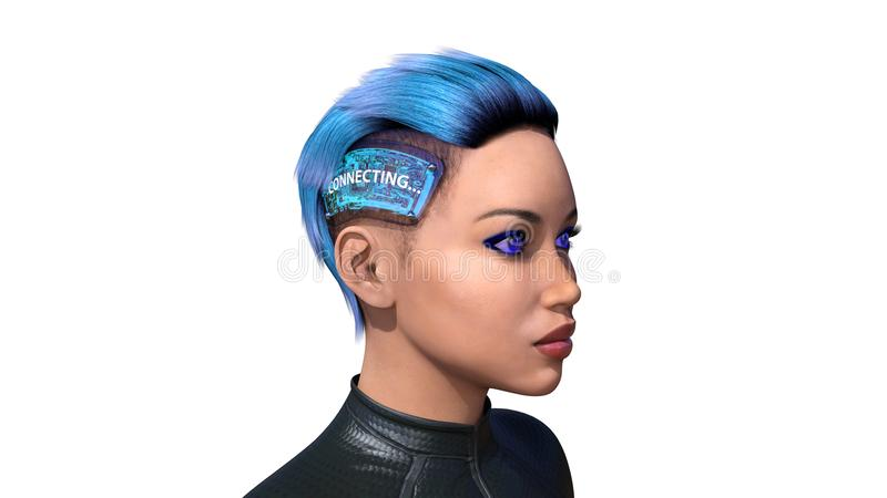 Женский андроид с implants технологии, biomechanical женщина соединяясь к интернету, искусственному интеллекту, 3D представляет иллюстрация штока