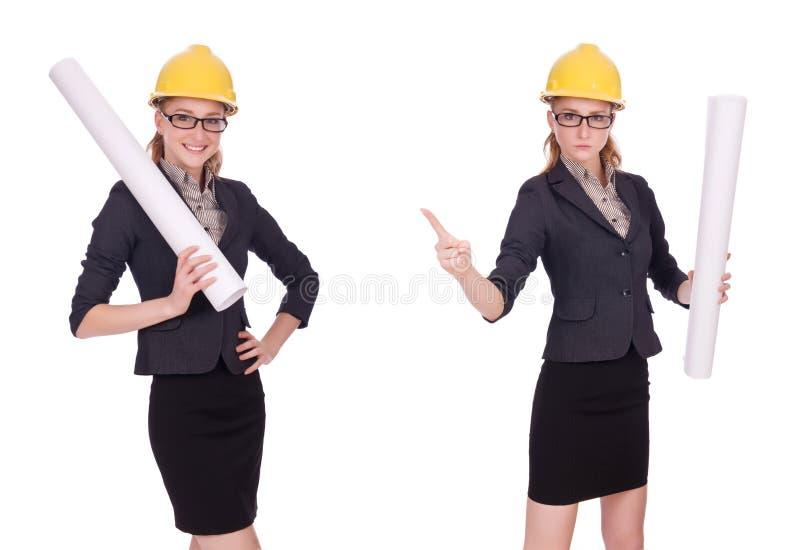 Женский архитектор со светокопией изолированной в белизне стоковая фотография