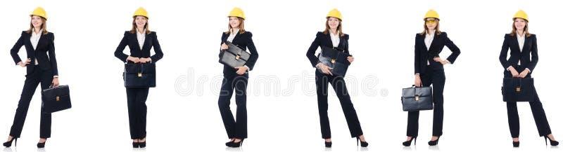 Женский архитектор с сумкой изолированной в белизне стоковые фото