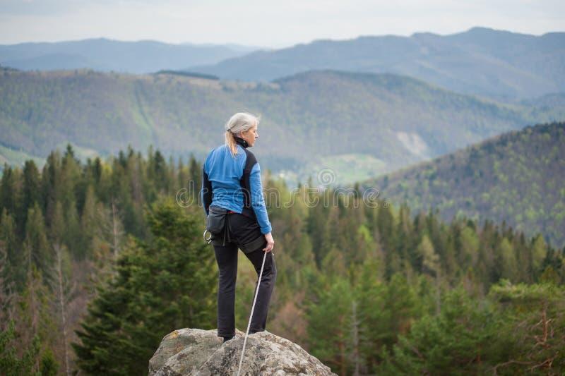 Женский альпинист на пике утеса с взбираясь оборудованием стоковая фотография rf