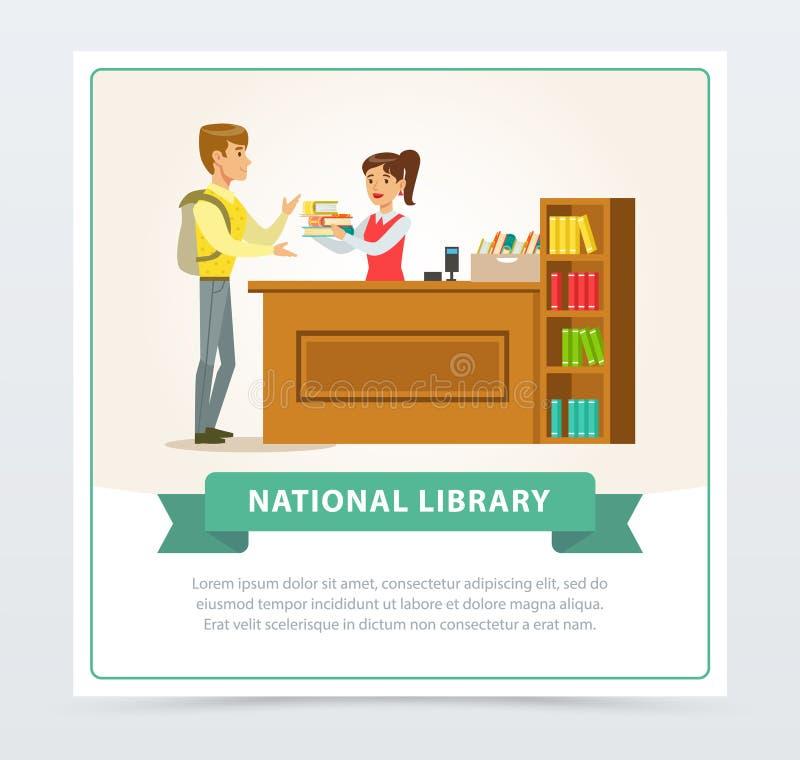 Женский библиотекарь помогая читателю на концепции стола, образования, школы, исследования и литературы обслуживания, национально бесплатная иллюстрация
