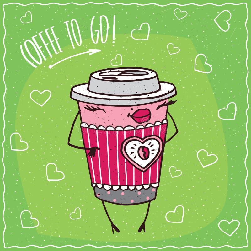 Женский бумажный стаканчик улыбок кофе иллюстрация вектора