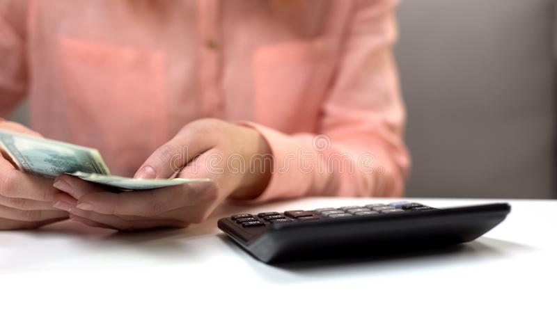 Женский бухгалтер считая банкноты доллара, семейный бюджет планирования домохозяйки стоковое изображение