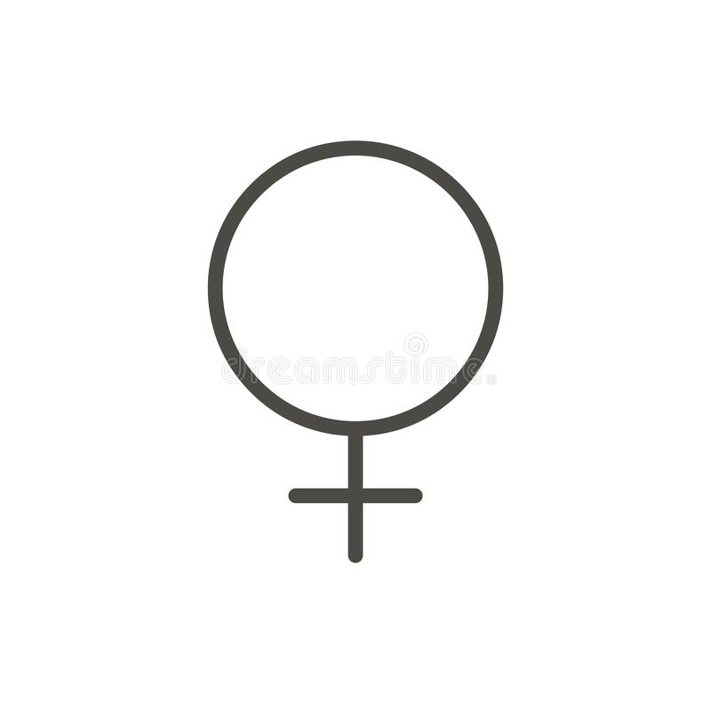 Женский вектор значка рода Линия изолированный символ секса женщины тенденция иллюстрация вектора