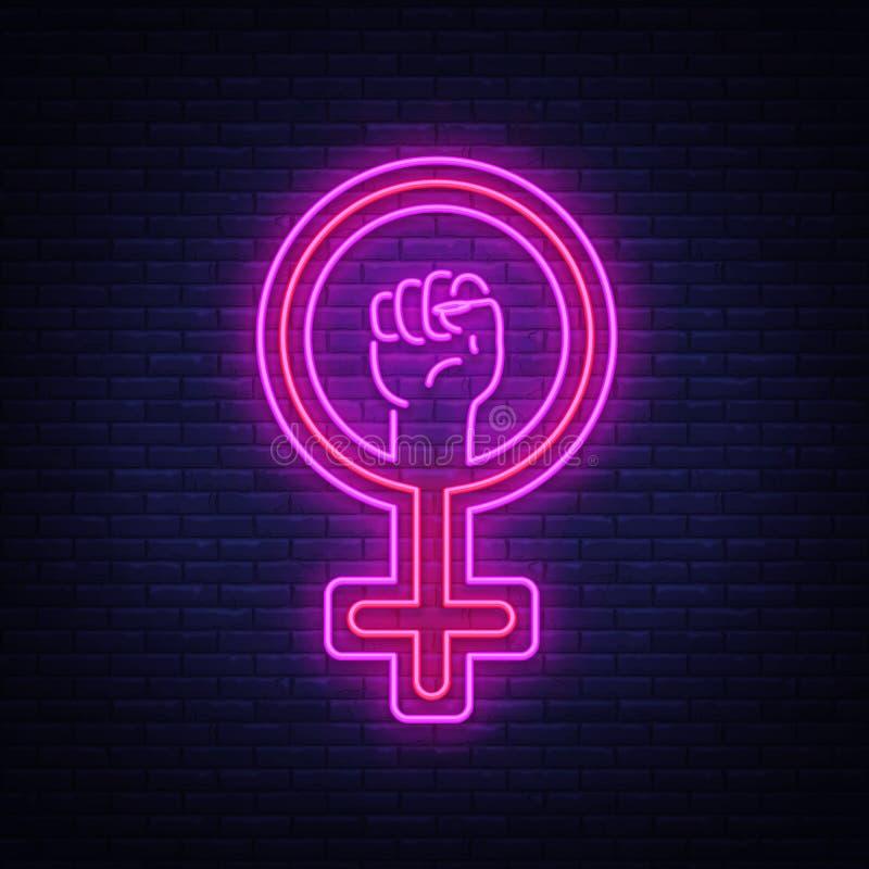Женский вектор неоновой вывески символа рода Символ света ночи феминизма, значок Феминист символ протеста в неоновом стиле Констр иллюстрация вектора