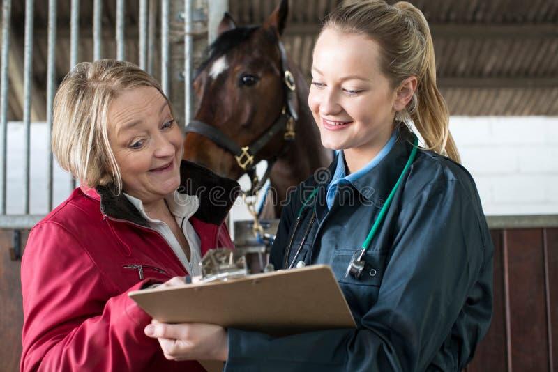 Женский ветеринар обсуждая результаты медицинского обследования с предпринимателем лошади в s стоковые фотографии rf