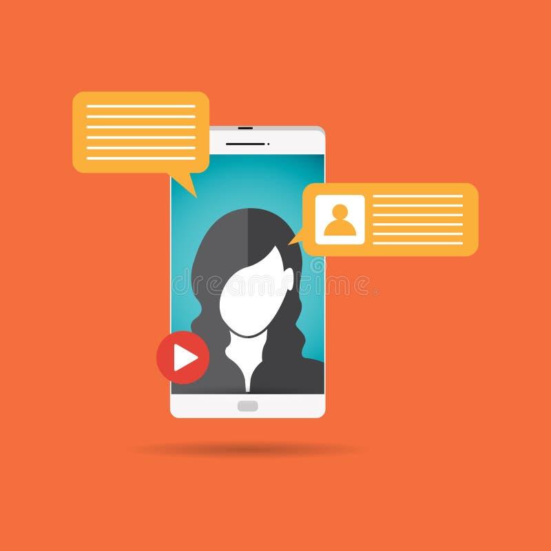 Женский видео- звонок бесплатная иллюстрация