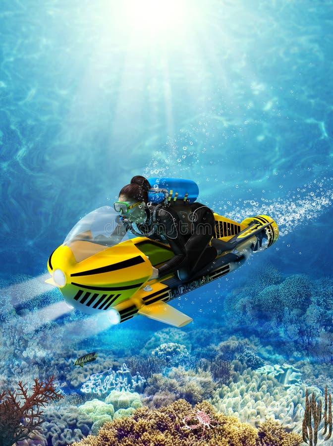 Женский водолаз акваланга на подводном самокате иллюстрация штока
