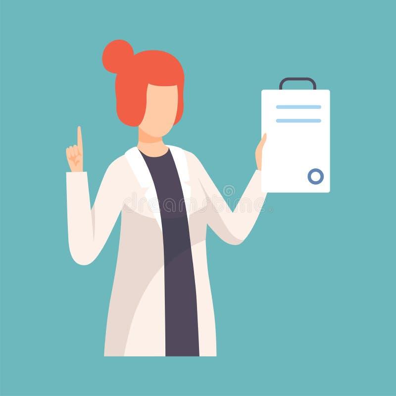 Женский доктор Повышение Вверх Ее Палец давая совет или рекомендацию, профессиональное удерживание характера медицинского работни иллюстрация штока