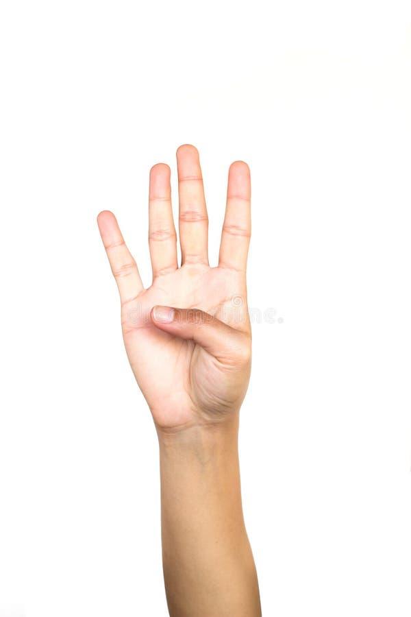 Женский жест рукой делая 4 на белой предпосылке стоковое фото