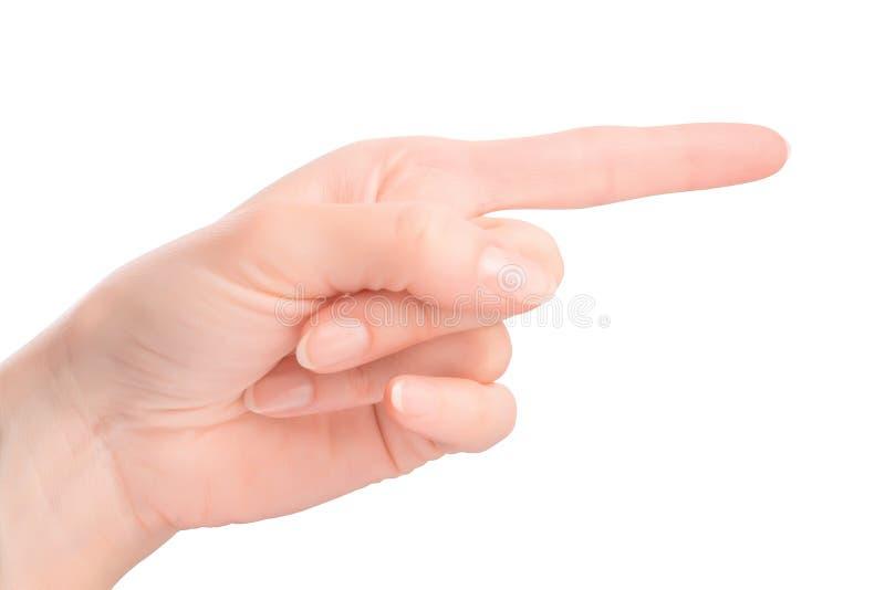 Женский жест рукой указывая пальца стоковое фото rf