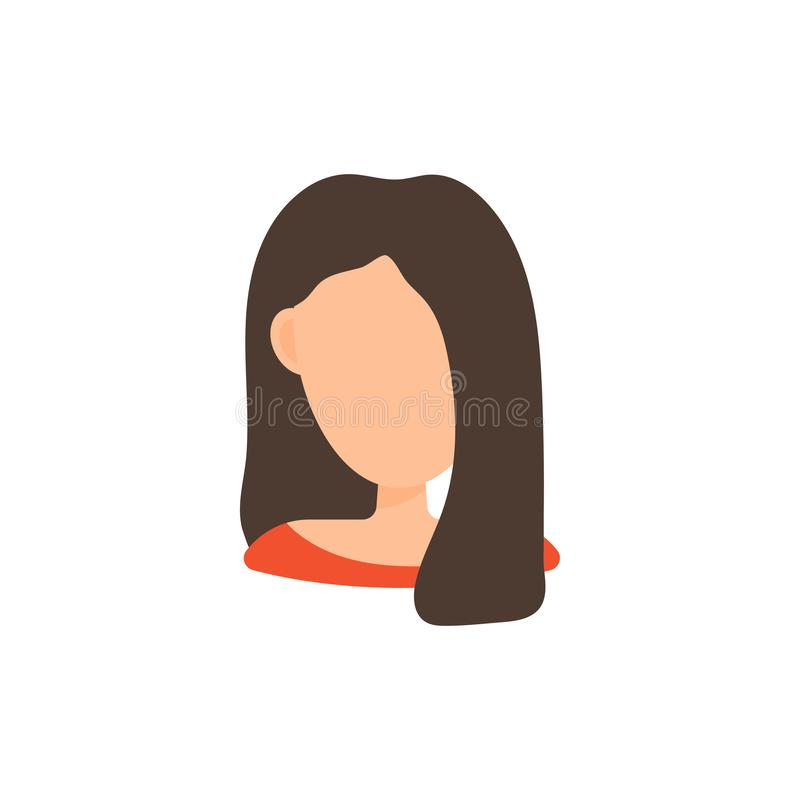 Женский значок изображения профиля воплощения потребителя Изолированная иллюстрация вектора в плоском характере людей дизайна бесплатная иллюстрация
