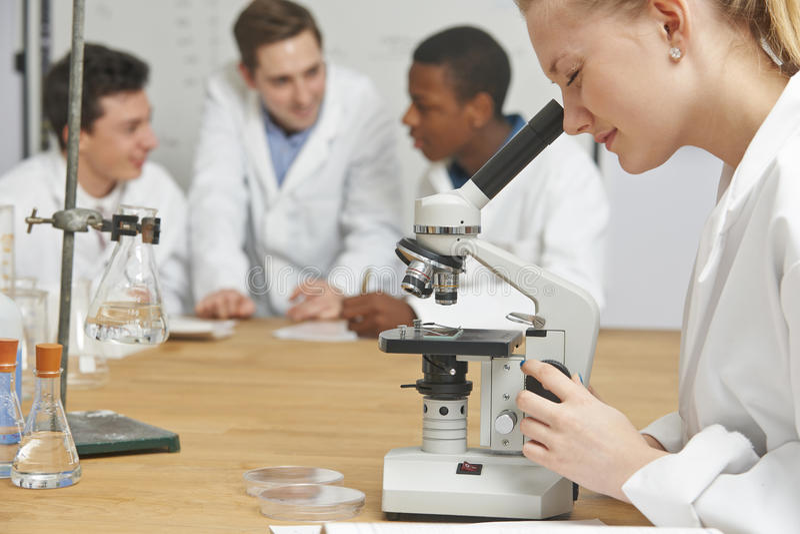 Женский зрачок используя микроскоп в уроке науки стоковая фотография rf