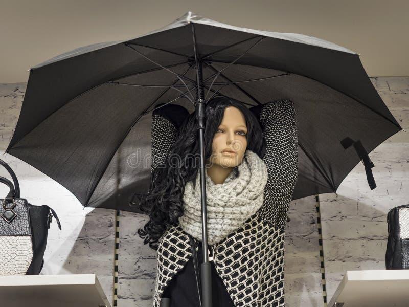 Женский манекен с длинными волосами одел в одеждах осени в окне магазина стоковое изображение rf
