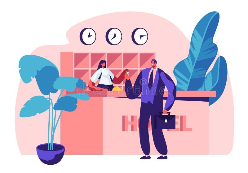 Прием гостиницы Женский менеджер, характер администратора за столом дает ключ от номера гостю бизнесмена на Hall Лоббируйте внутр бесплатная иллюстрация