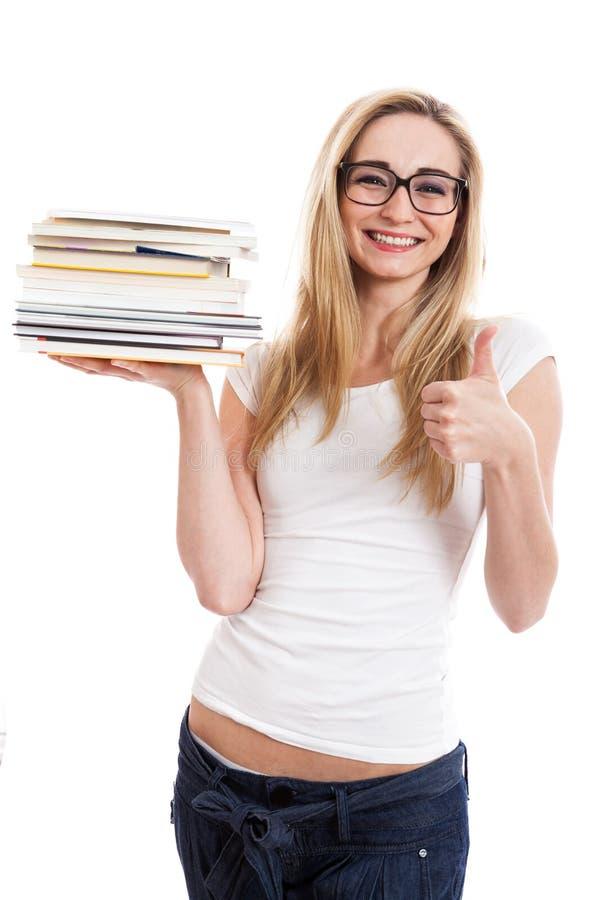 Женский модельный носить записывает делать большие пальцы руки вверх по знаку стоковое изображение rf