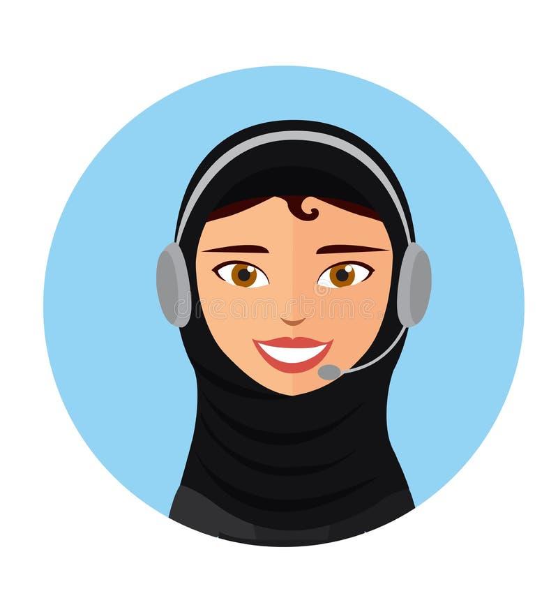 Женский оператор центра телефонного обслуживания с вектором помощи т иллюстрация вектора