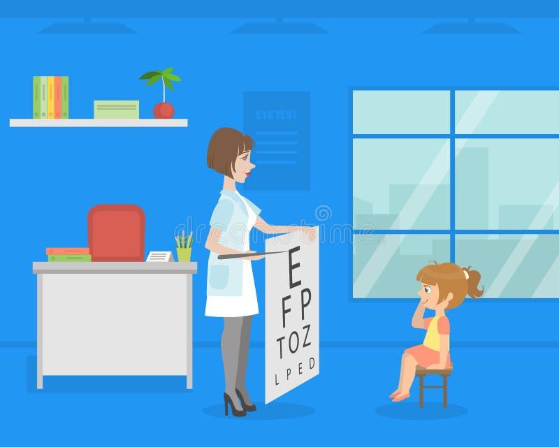 Женский офтальмолог делая тест зрения к девушке, доктору Consulting Пациенту в медицинской иллюстрации вектора офиса иллюстрация штока
