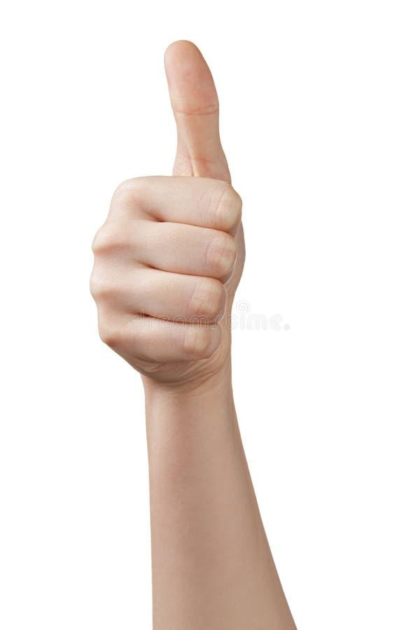Женский предназначенный для подростков большой палец руки руки вверх стоковая фотография
