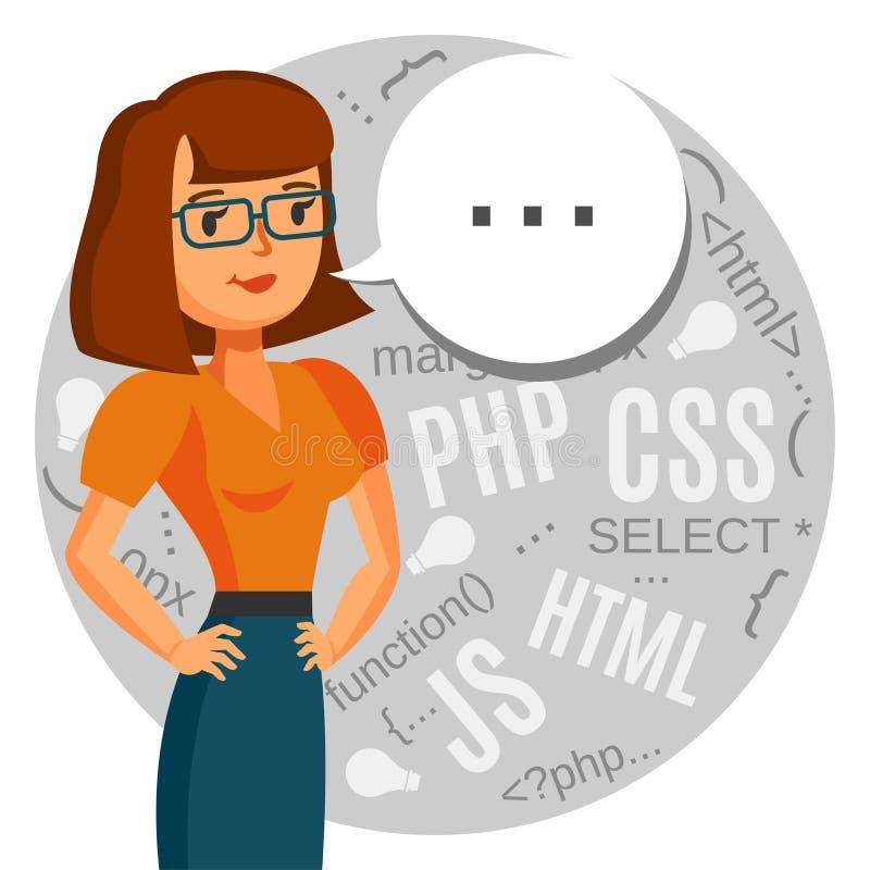 Женский программист, идиот компьютера, кодер, центр требования поддержки бесплатная иллюстрация