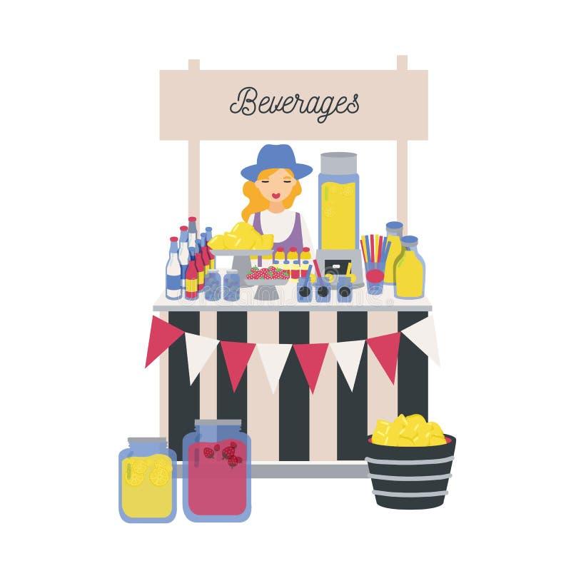 Женский продавец стоя на счетчике, стойле или киоске с лимонами, лимонадом и другими лимонадами Девушка продавая освежать иллюстрация вектора