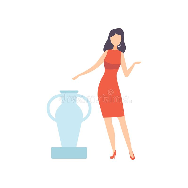 Женский профессиональный аукционист продавая старую вазу в художественной галерее, иллюстрации вектора процесса аукциона иллюстрация штока