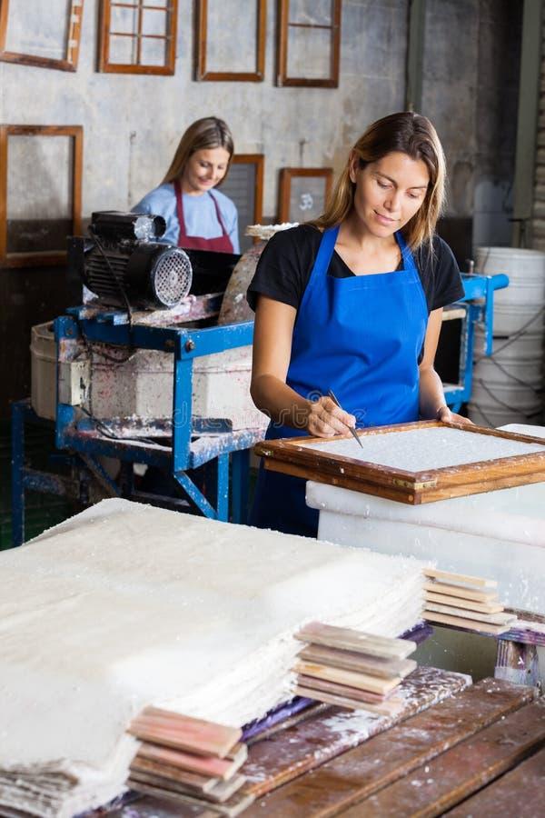 Женский работник используя щипчики для того чтобы очистить бумагу дальше стоковая фотография