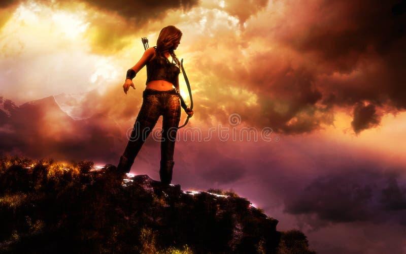 Женский ратник иллюстрация штока