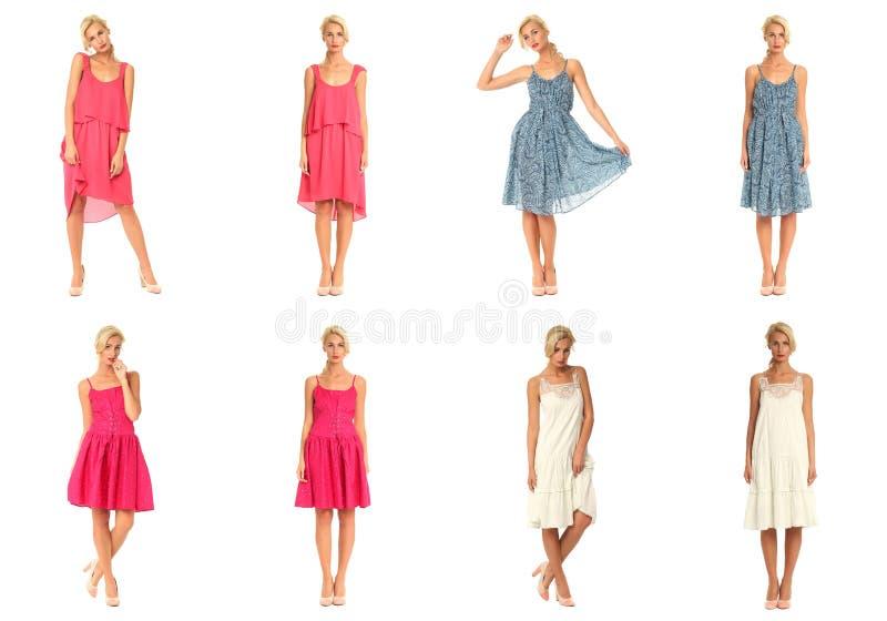 Женский режим в коллаже платья изолированном над белизной стоковое фото rf